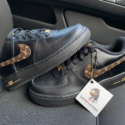 CUSTOM 18K GOLD LV BLACK AIR FORCE 1
