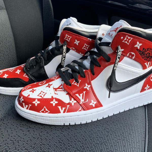 CUSTOM RED/BLACK LV X JORDAN 1 MID