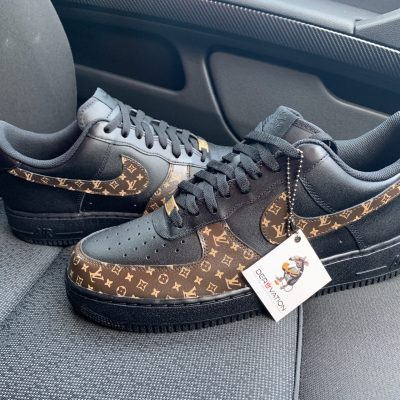 BLACK CUSTOM LV AIR FORCE 1
