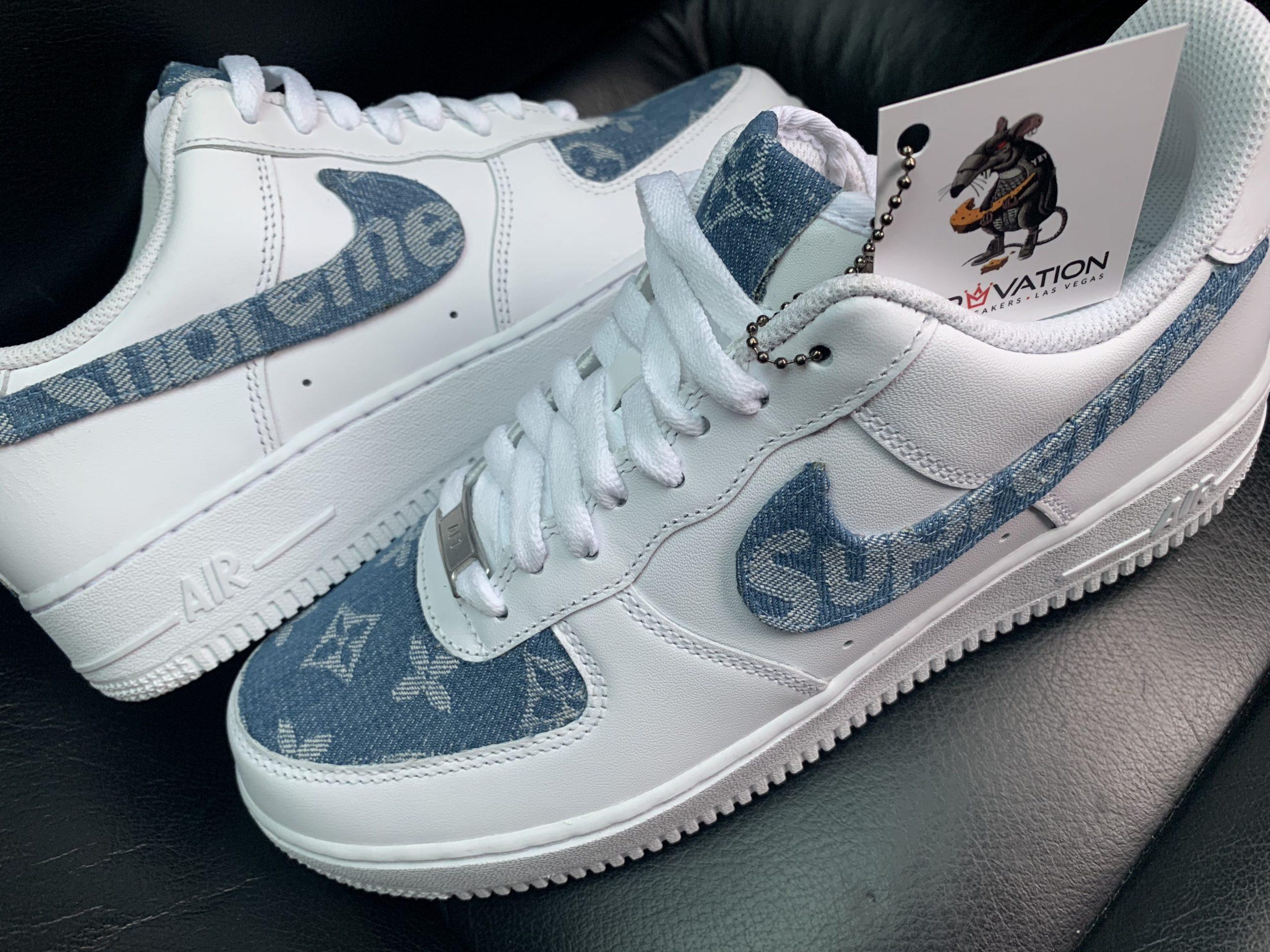 Custom Denim Lv X Air Force 1 Derivation Customs Custom Sneakers Swarovski Trainers