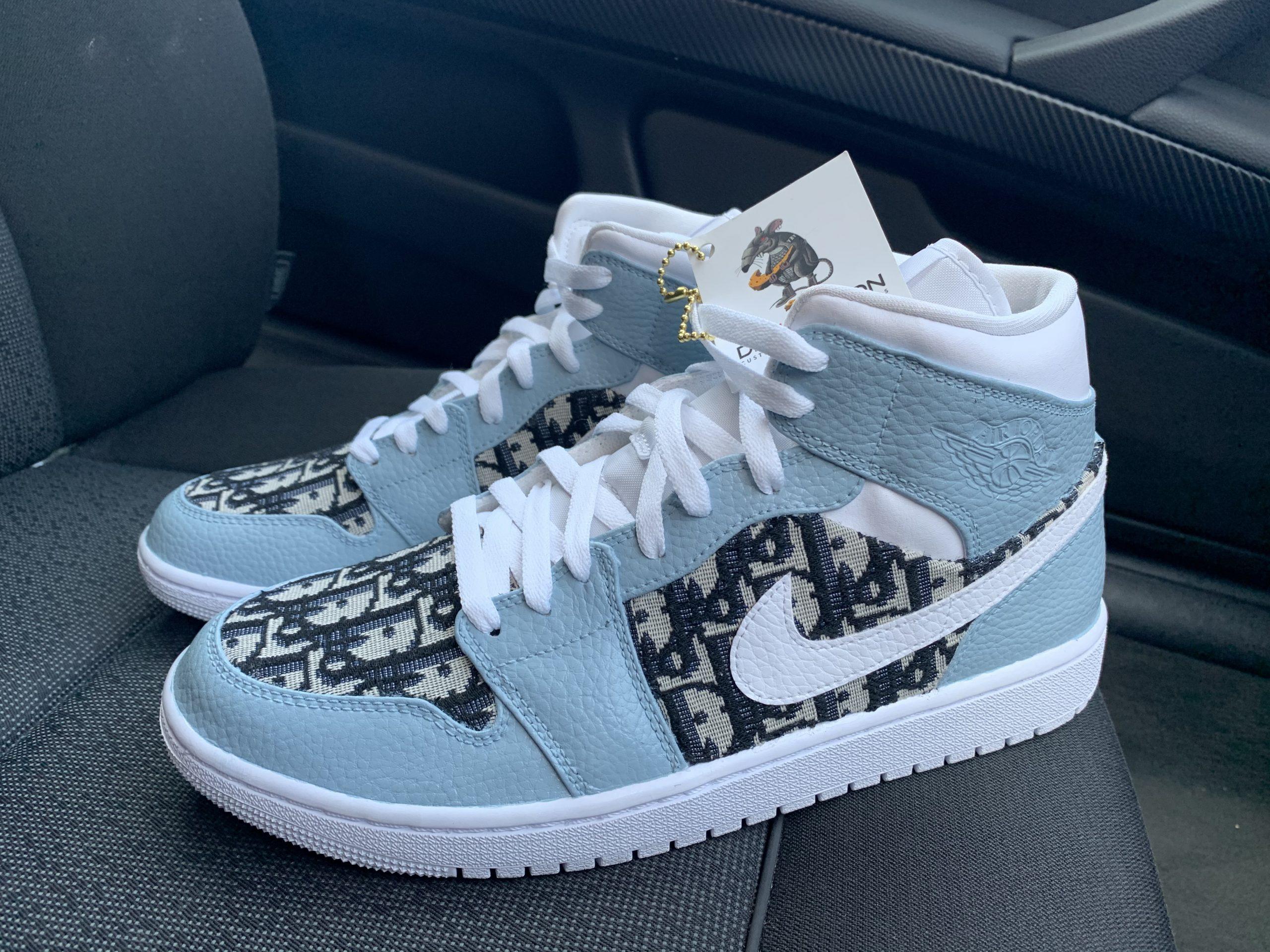 CUSTOM DIOR JORDAN 1 MID – Derivation Customs – Custom sneakers ...