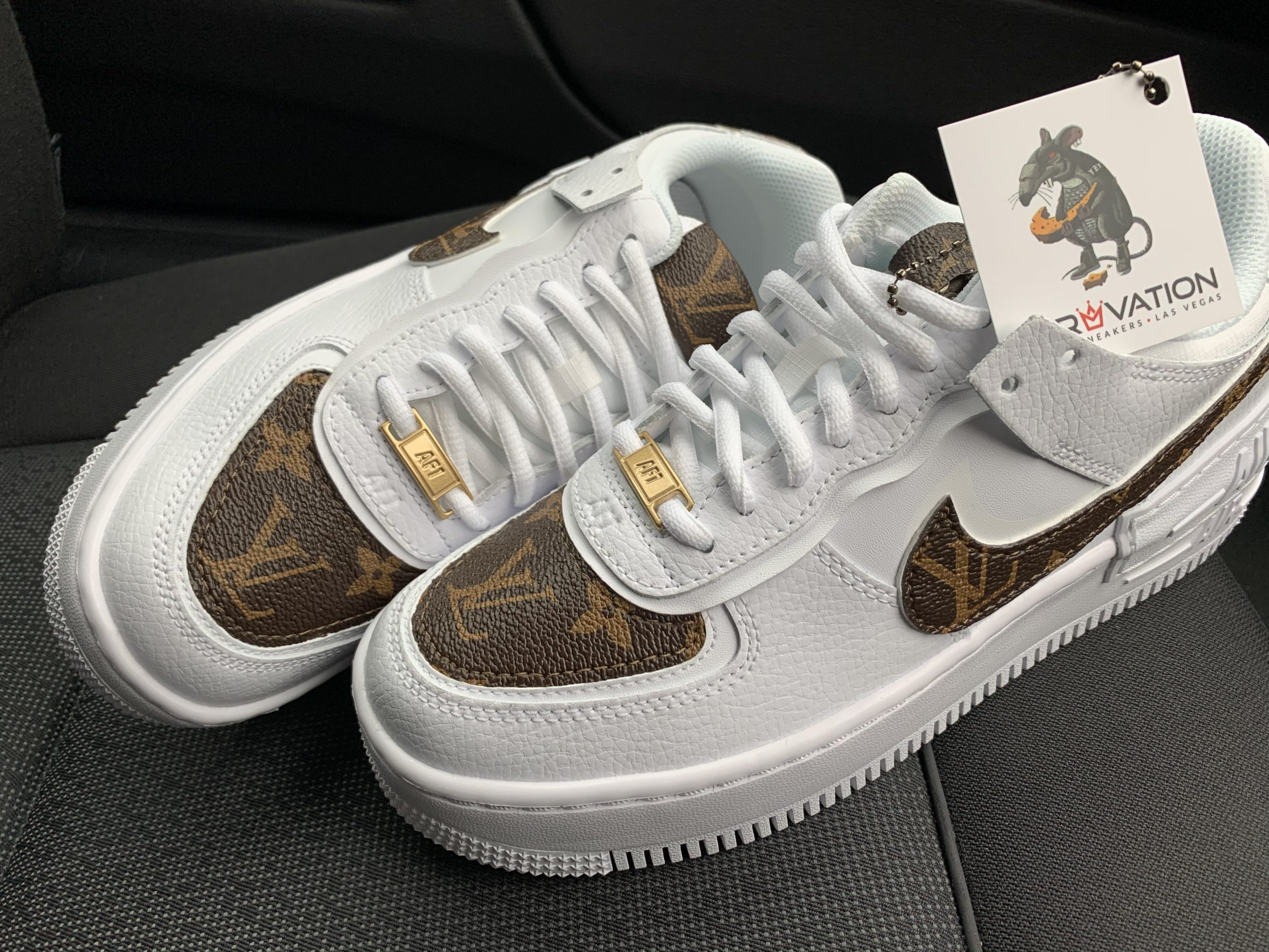 Custom Lv Air Force 1 Shadow Derivation Customs Custom Sneakers Swarovski Trainers Nike has never been a stranger would you cop louis vuitton's gold monogram earphone earrings for $350 usd? custom lv air force 1 shadow